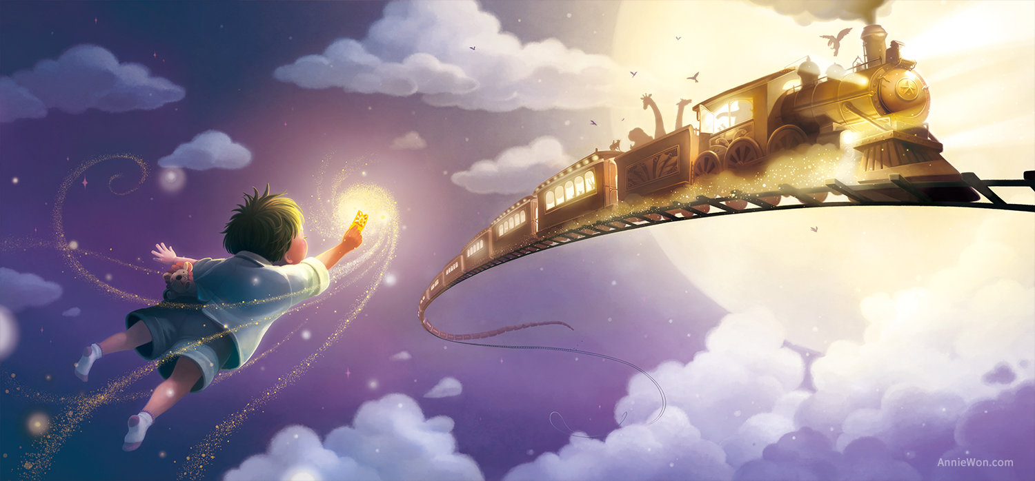 Flying to the train